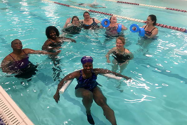 Aquatic movement class at Club Fitness